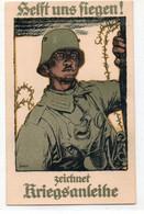 DC4517 - Ak Schöne Motivkarte Militaria Helft Uns Fliegen Soldat Kriegsanleihe - Otros