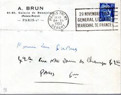 LETTRE FRANCE 1952 - OBLIT. MECANIQUE - CACHET POSTAL PARIS TRI N°1 DEPART -  GENERAL LECLERC, MARECHAL DE FRANCE - - Other