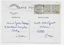 ARC TRIOMPHE 40C BANDE DE 3 UN PETITE TACHE CARTE  CLICHE LA GAR 24.II.1945 AU TARIF USAGE COURT - 1944-45 Arc Of Triomphe