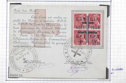 Carte Spéciale Au Profit Des Blessés Et Malades FFI Et FFA Des Alpes - Liberation