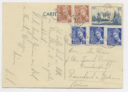 MERCURE 15CX2+10CX3 SUR ENTIER 70C ARC TRIOMPHE BOURGNEUF 6.11.1939 CREUSE POUR SUISSE 5 C EN TROP - 1938-42 Mercure