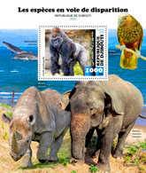 Djibouti 2020 Fauna Endangered Species , Gorilla ,rhino, Elepant ,parrot  S202101 - Djibouti (1977-...)