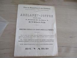 Buvard Pub Publicitaire Vins Abelanet Joffre Rivesaltes Corbières - V