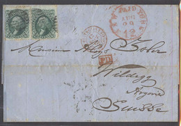 USA. 1865 (29 Aug). NY - Switzerland (13 Sept). EL Kd 10c Green (x2) Further Fkg Missing. Opportunity. - Sin Clasificación