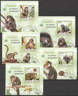 AA257 IMPERFORATE 2009 DES COMORES FAUNA ANIMALS LES LEMURS 5 LUX BL MNH - Apen