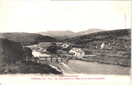 FR66 ESTAGEL - Bistros - Les Deux Pont Sur L'Agly Et La Cave Coopérative - La Gare Voie De Chemin De Fer  Train - Belle - Other Municipalities