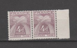 "FRANCE / 1946-1955 / Y&T TAXE N° 84 ** : Gerbes ""Timbre-Taxe"" 4F X 2 En Paire Dont 1 BdF D - 1859-1955 Nuovi"