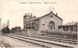 FR66 PERPIGNAN - Brun - Colorisée - Maison Henri PARES - Magasins Et Bureaux - Train Locomotive - Animée - Belle - Perpignan
