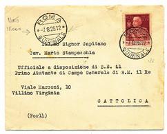 1925 ROMA QUIRINALE CON BEL CHIUDILETTERA UFFICIO DEL PRIMO AIUTANTE DI CAMPO GENERALEDI S .MAESTA IL RE - Marcofilía