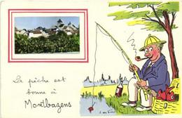 Fantaisie Illustrateur J De Preissac La  Peche Est Bonne à Montbazens  + Vue Montbazens RV - Montbazens
