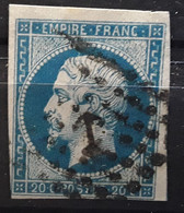 Empire No 14 A Obl ANCRE Des Messageries Maritimes,  TB Cote 40 Euros - 1853-1860 Napoleon III