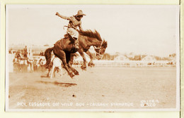 Ca007 ♥️ Carte Photo OLIVER 320 Cowboy Dick COSGROVE On WILD BOY CALGARY 1925s STAMPEDE CANADA ALBERTA Peu Commun - Calgary