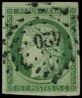 O FRANCE - Poste - 2, Oblitéré PC 420, Bonnes Marges, Signé Scheller Et Brun, Certificat Photo Schlegel, TB: 15c. Vert - 1849-1850 Ceres