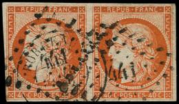 O FRANCE - Poste - 5, Paire Oblitérée PC 441, Marges Intactes, Certificat Photo Goebel: 40c. Orange - 1849-1850 Ceres