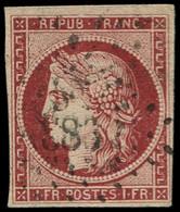 O FRANCE - Poste - 6, Marges Intactes, Signé Scheller, Oblitération PC 1831: 1f. Cérès - 1849-1850 Ceres