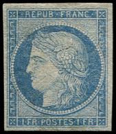 * FRANCE - Poste - 6, Essai En Bleu, Avec Gomme: 1f. Cérès (Spink) - 1849-1850 Ceres