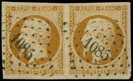"""O FRANCE - Poste - 9, En Paire, Oblitération PC """"1085"""", Belles Marges: 10c. Bistre-jaune - 1852 Louis-Napoleon"""