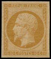 ** FRANCE - Poste - 9e, Réimpression De 1862, Signé + Certificat Behr: 10c. Bistre-jaune - 1852 Louis-Napoleon