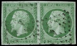 O FRANCE - Poste - 12, Paire, Belles Marges, TB, Signé: 5c. Vert - 1853-1860 Napoleon III