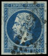 O FRANCE - Poste - 14a, Bleu Sur Vert, Bien Margé, Signé Claves - 1853-1860 Napoleon III