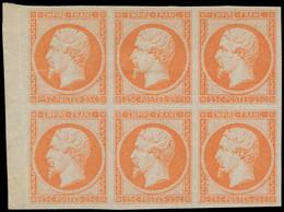 (*) FRANCE - Poste - 15, Bloc De 6 Bdf, Essais En Orange, TB - 1853-1860 Napoleon III
