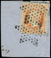 O FRANCE - Poste - 16, Petit Fragment, Oblitération Roulette étoiles: 40c. Orange - 1853-1860 Napoleon III
