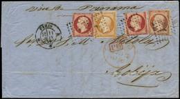 LET FRANCE - Poste - 17 (x2) + 13 + 16, Afft. à 2.10, Tricolore Pour La Bolivie, Env. Paris 11/6/1866 Voie Panama, Signé - 1849-1876: Classic Period