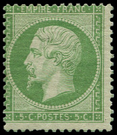 * FRANCE - Poste - 20, Très Frais, Centre Déplacé: 5c. Vert - 1862 Napoleon III