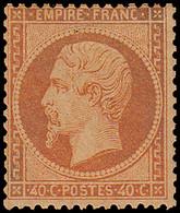 * FRANCE - Poste - 23, Pleine Gomme, Signé Brun: 40c. Orange - 1862 Napoleon III