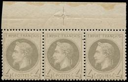 ** FRANCE - Poste - 27A, Bande De 3 Avec Bdf Et Croix De Repère, Pleine Gomme, Signé Scheller: 4c. Gris - 1863-1870 Napoleon III With Laurels