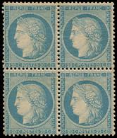 * FRANCE - Poste - 37, Bloc De 4, Signé Roumet (2 Timbres Inférieurs Luxe **): 20c. Bleu (points Jaunes) - 1870 Siege Of Paris
