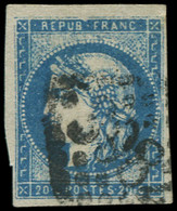 O FRANCE - Poste - 44A, Type I Report 1, Marges Intactes, Signé Brun: 20c. Bleu - Unclassified
