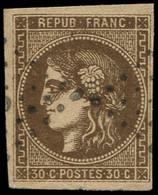 O FRANCE - Poste - 47, Marges Intactes: 30c. Bordeaux Brun - 1870 Bordeaux Printing