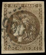 O FRANCE - Poste - 47, Belles Marges: 30c. Bordeaux Brun - 1870 Bordeaux Printing