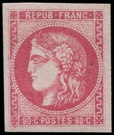 ** FRANCE - Poste - 49, TB: 80c. Rose - 1870 Bordeaux Printing