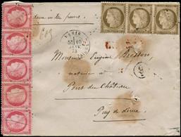 LET FRANCE - Poste - Lettre Chargée à 4.90f. De Paris Rue Montaigne Pour Port Au Château (Puy De Dôme), Affranchie N° 57 - 1871-1875 Ceres