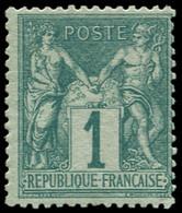 * FRANCE - Poste - 61, 1c. Vert N/B Sage - 1876-1878 Sage (Type I)