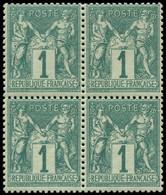 * FRANCE - Poste - 61, Bloc De 4, Signé Calves + Certificat Behr (2ex. **): 1c. Vert - Unclassified