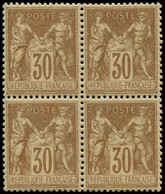 ** FRANCE - Poste - 80, Bloc De 4, Très Bon Centrage: 30c. Brun-jaune - Unclassified