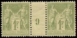 """* FRANCE - Poste - 82, Paire Millésime """"9"""", Très Frais: 1f. Olive - Millesimes"""