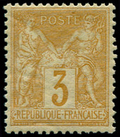 ** FRANCE - Poste - 86, Signé Brun: 3c. Bistre-jaune - 1876-1898 Sage (Type II)