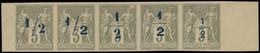 """(*) FRANCE - Poste - (87), Bande De 5 Surcharges Non émises """"1/2"""" En Bleu (1900), Toutes Différentes, Bdf, Sur 3c. Sage  - 1876-1898 Sage (Type II)"""