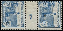 """* FRANCE - Poste - 151, Paire Millésime """"7"""": 25c. Orphelins (un Point Jaune) - Millesimes"""