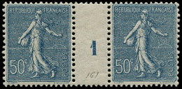 """* FRANCE - Poste - 161, Paire Millésime """"1"""" (1 Exemplaire **): 50c. Semeuse Bleu - Millesimes"""