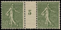 """** FRANCE - Poste - 198, Paire Millésime """"5"""": 50c. Semeuse Lignée Olive - Millesimes"""