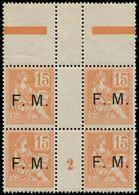 """** FRANCE - Franchise - 1, Bloc De 4, Bdf (pli Transversal Sur La Paire Supérieure), Millésime """"2"""": 15c. Mouchon - Millesimes"""