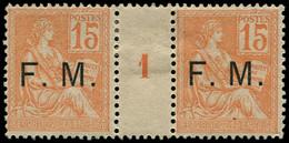 """** FRANCE - Franchise - 1, Paire Millésime """"1"""" (millésime *), Signé Calves: 15c. Mouchon - Millesimes"""
