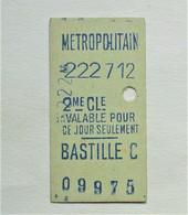 "Ancien Ticket De Metro "" Bastille C "". 2e Classe. - Europa"