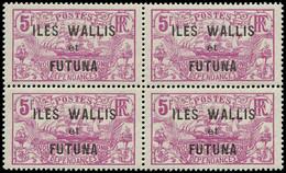 """** WALLIS & FUTUNA - Poste - 37a, Bloc De 4 (2 Exemplaires *) Sans La Surcharge """"3F"""": 5f. Violet - Unclassified"""