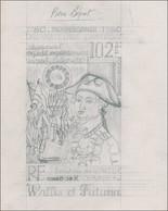 MAQ WALLIS & FUTUNA - Poste Aérienne - 102, Type Non émis (Rochambeau Avec Chapeau), Maquette Sur Calque Au Crayon, Sign - Unclassified